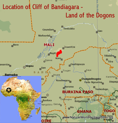 Map showing the location of Cliff of Bandiagara (Land of the Dogons) world heritage site in Mali