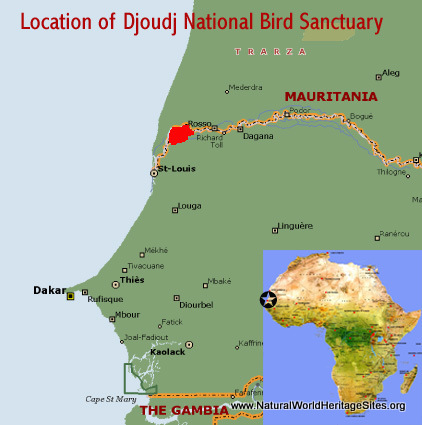 Map showing the location of Djoudj National Bird Sanctuary world heritage site in Senegal