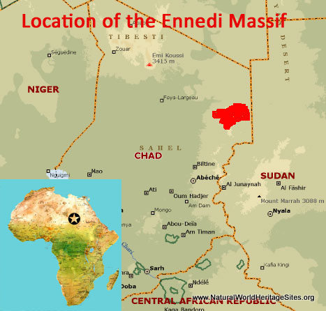 Map showing the location of Ennedi Massif world heritage site in Chad