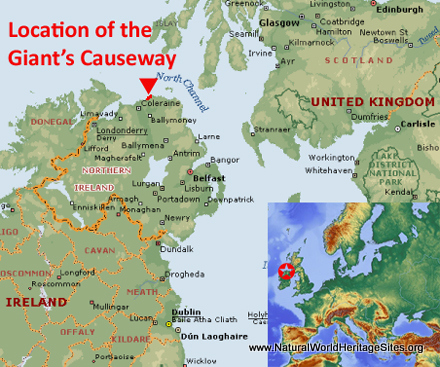 Map showing the location of Giant's Causeway and Causeway Coast world heritage site in United Kingdom
