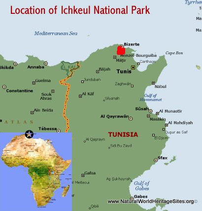 Map showing the location of Ichkeul National Park world heritage site in Tunisia