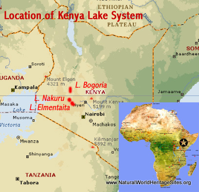 Map showing the location of Kenya Lake System world heritage site in the Great Rift Valley