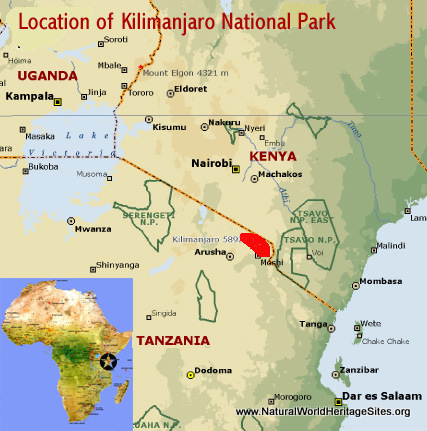 Map showing the location of Kilimanjaro National Park world heritage site in Tanzania