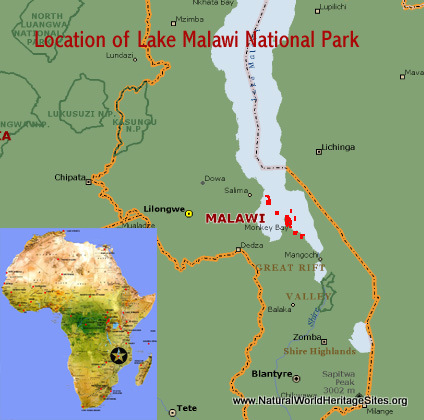 Map showing the location of Lake Malawi National Park world heritage site in Malawi