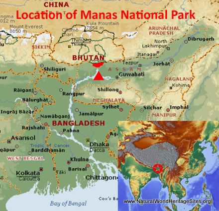 Map showing the location of Manas Wildlife Sanctuary world heritage site in India