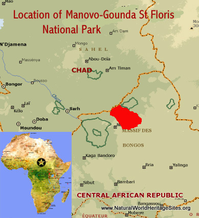 Map showing the location of Manovo-Gounda St Floris National Park world heritage site in Central African Republic