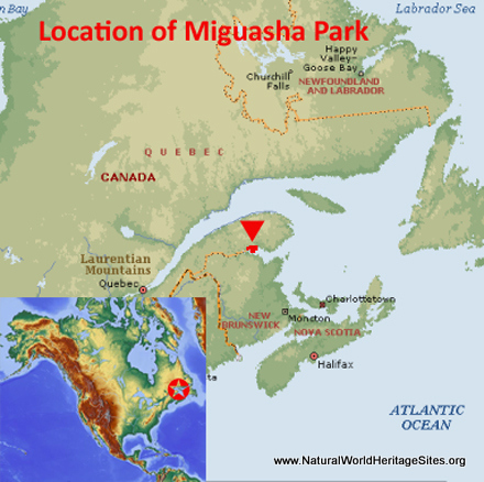 Map showing the location of Miguasha National Park world heritage site in Canada