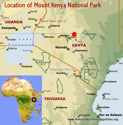 Map showing the location of Mount Kenya National Park/Natural Forest world heritage site in Kenya