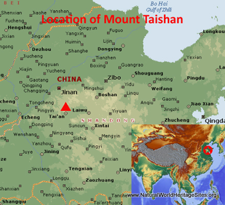 Map showing the location of Mount Taishan world heritage site in China