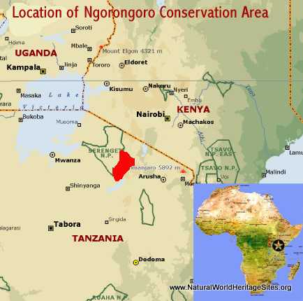 Map showing the location of Ngorongoro Conservation Area world heritage site in Tanzania