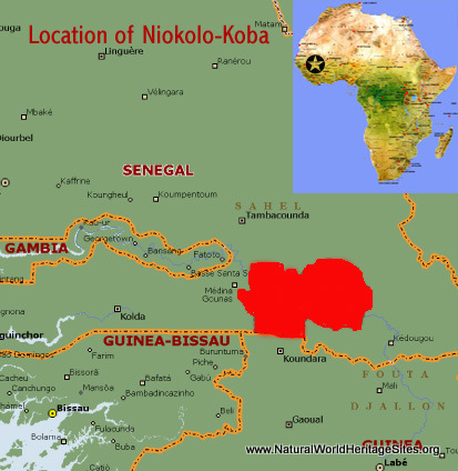 Map showing the location of Niokolo-Koba National Park World Heritage Site in Senegal