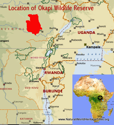 Map showing the location of Okapi Wildlife Reserve world heritage site in DR Congo