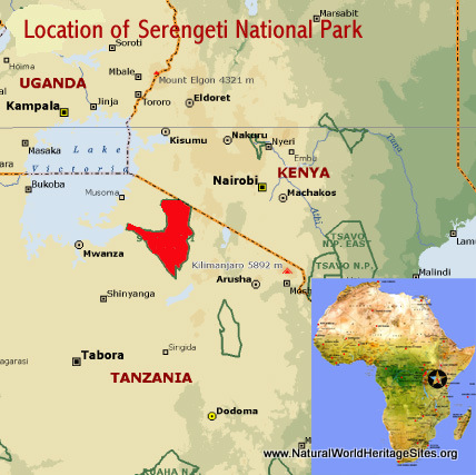 Map showing the location of Serengeti National Park world heritage site in Tanzania