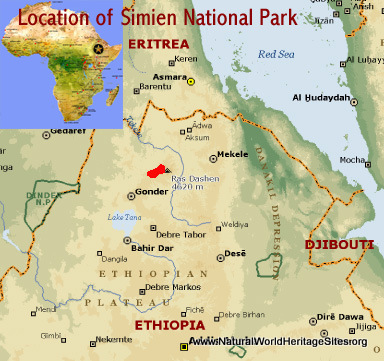 Map showing the location of Simien National Park world heritage site in Ethiopia