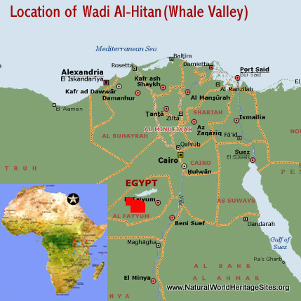 Map showing the location of Wadi Al-Hitan (Whale Valley) world heritage site in Egypt