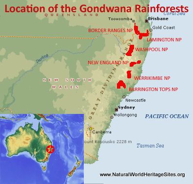 Map showing the location of Gondwana Rainforests of Australia world heritage site in Australia