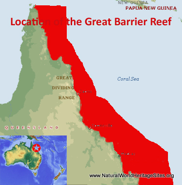 Map showing the location of Great Barrier Reef world heritage site in Australia