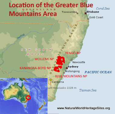 Map showing the location of Greater Blue Mountains Area world heritage site in Australia