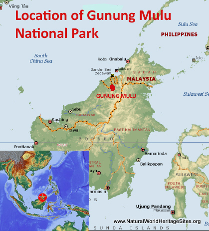 Map showing the location of Gunung Mulu National Park world heritage site in Malaysia