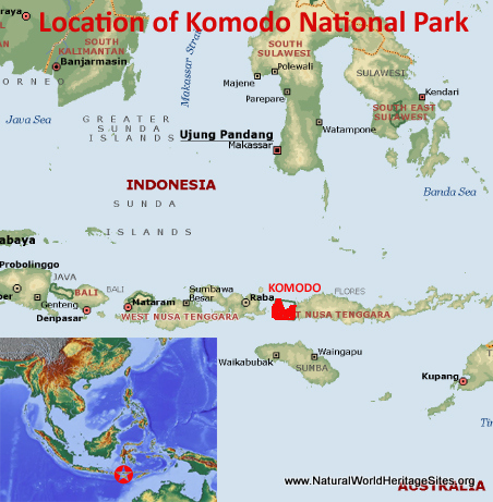Map showing the location of Komodo National Park world heritage site in Indonesia