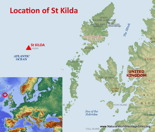 Map showing the location of St Kilda world heritage site in United Kingdom