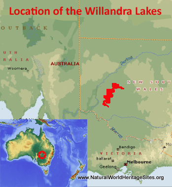 Map showing the location of Willandra Lakes Region world heritage site in Australia