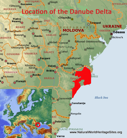 Map showing the location of Danube Delta world heritage site in Romania