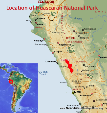 Map showing the location of Huascarán National Park world heritage site in Peru