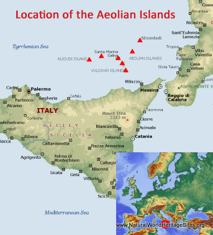 Map showing the location of Isole Eolie (Aeolian Islands) world heritage site in Italy