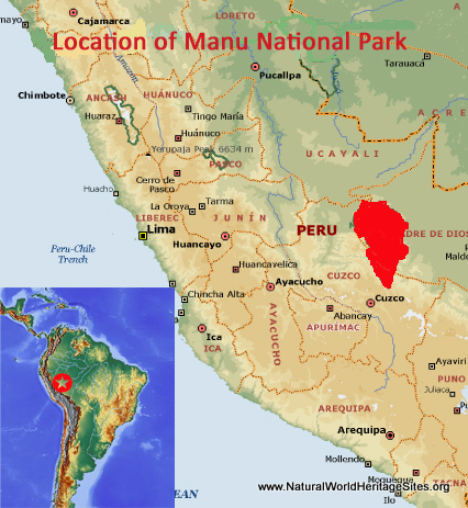 Map showing the location of Manú National Park world heritage site in Peru