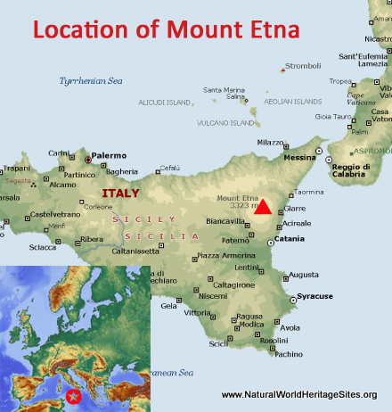 Map showing the location of Mount Etna world heritage site in Italy