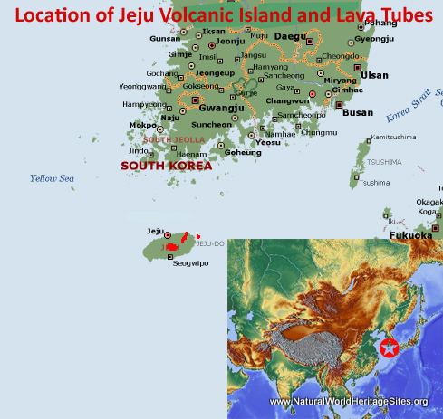Map showing the location of Jeju Volcanic Island and Lava Tubes World Heritage Site in South Korea