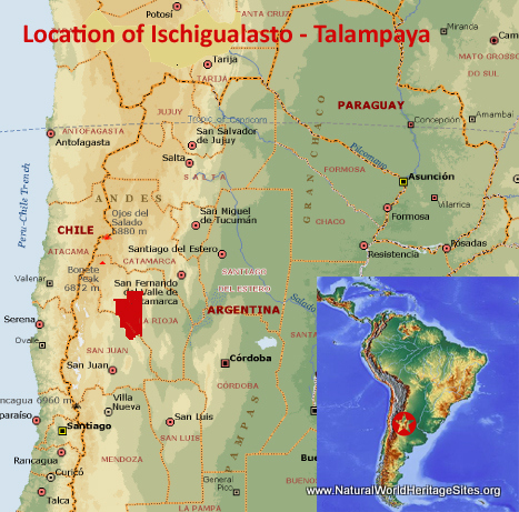 Map showing the location of Ischigualasto/Talampaya Natural Parks World Heritage Site in Argentina