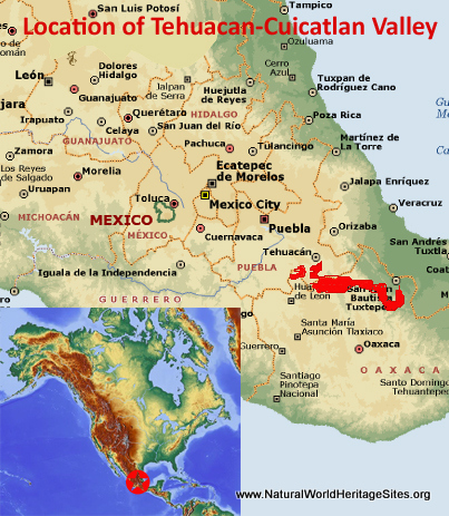 Map showing the location of Tehuacan-Cuicatlan Valley: Originary Habitat of Mesoamerica world heritage site in Mexico