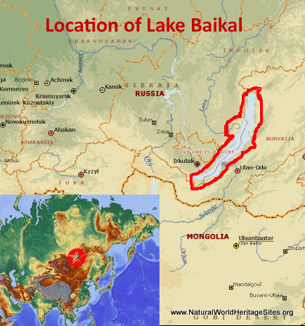 Map showing the location of Lake Baikal World Heritage Site in Russian Federation