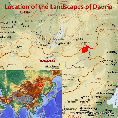 Map showing the location of Landscapes of Dauria World Heritage Site in Mongolia and Russian Federation