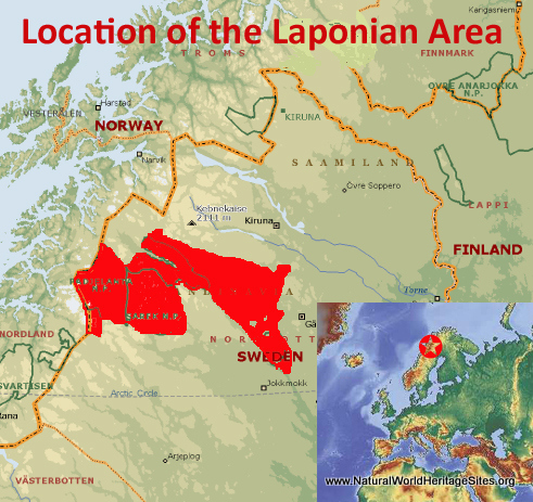 Map showing the location of Laponian Area World Heritage Site in Sweden