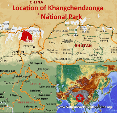Map showing the location of Khangchendzonga National Park World Heritage Site in India