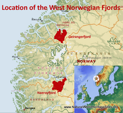 Map showing the location of West Norwegian Fjords – Geirangerfjord and Nærøyfjord World Heritage Site in Norway