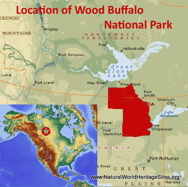 Map showing the location of Wood Buffalo National Park World Heritage Site in Canada