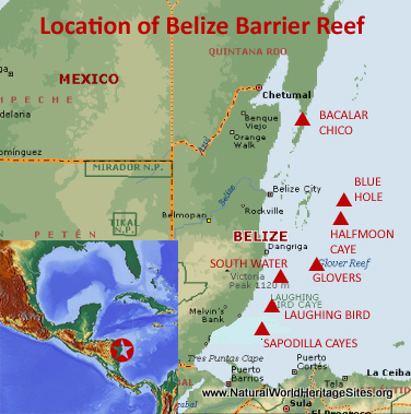 Map showing the location of Belize Barrier Reef Reserve System World Heritage Site in Belize