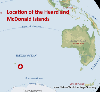 Map showing the location of Heard and McDonald Islands World Heritage Site in Australia