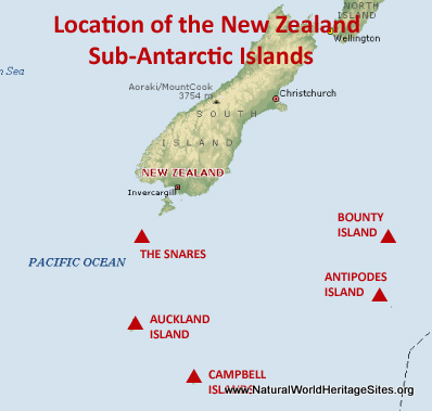 Map showing the location of New Zealand Sub-Antarctic Islands World Heritage Site in New Zealand