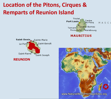 Map showing the location Pitons, Cirques and Remparts of Réunion Island World Heritage Site in France