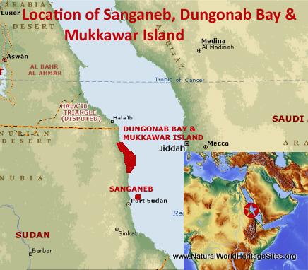 Map showing the location of Sanganeb Marine National Park and Dungonab Bay – Mukkawar Island Marine National Park World Heritage Site in Sudan