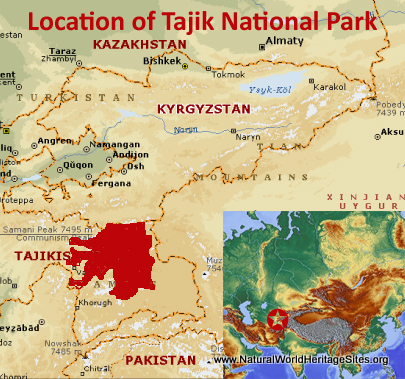 Map showing the location of Tajik National Park (Mountains of the Pamirs) World Heritage Site in Tajikistan