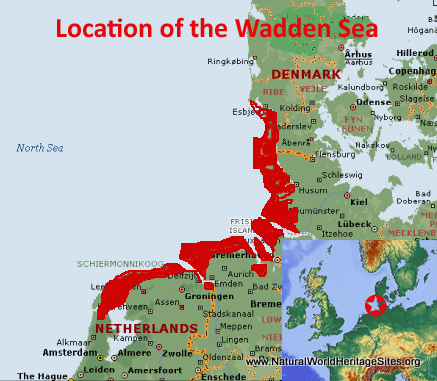 Map showing the location of Wadden Sea World Heritage Site in Denmark, Germany and The Netherlands