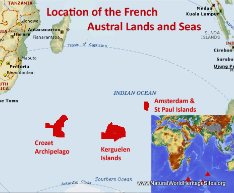 Map showing the location of French Austral Lands Seas World Heritage Site in France