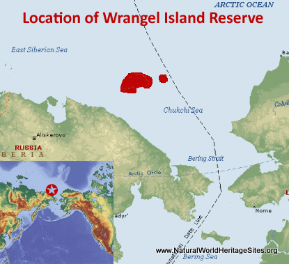 Map showing the location of Natural System of Wrangel Island Reserve World Heritage Site in Siberia