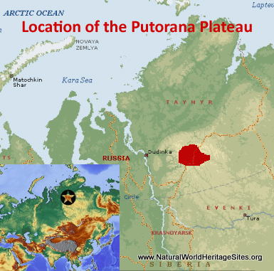 Map showing the location of Putorana Plateau World Heritage Site in Russian Federation